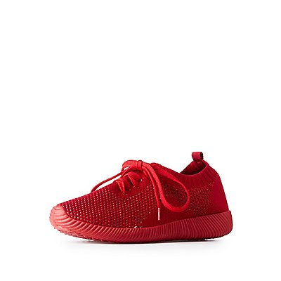 Qupid Colored Knit Lace Up Sneakers
