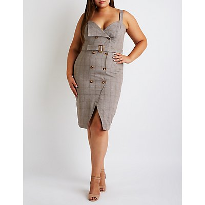 Plus Size Double Breasted Bodycon Dress