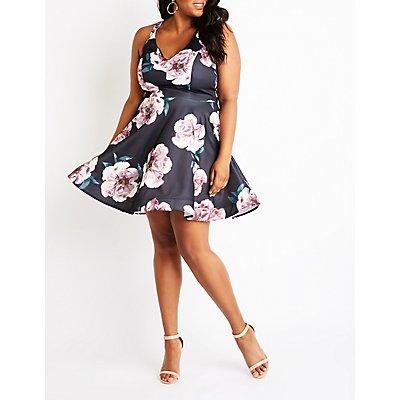 Plus Size Sequins Skater Dress
