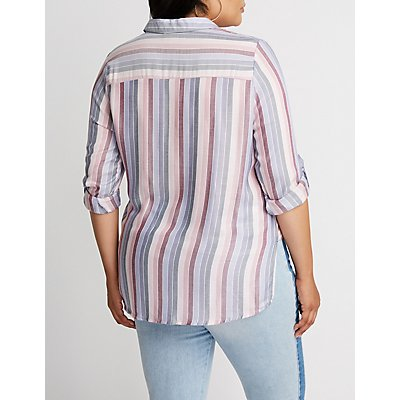 Plus Size Striped Button Up Top