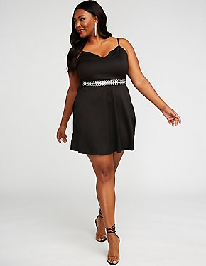 Plus Size Crystal Embellished Skater Dress