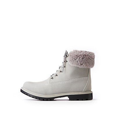 Bamboo Faux Fur Combat Boots
