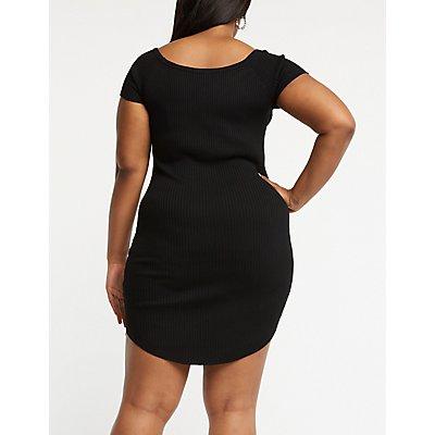 Plus Size Button Up Knit Dress