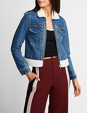 Refuge Denim Sherpa Zip Up Jacket