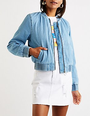 Denim Sherpa Lined Bomber Jacket