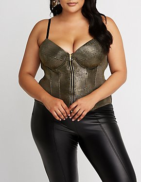 Plus Size Metallic Sweetheart Bustier