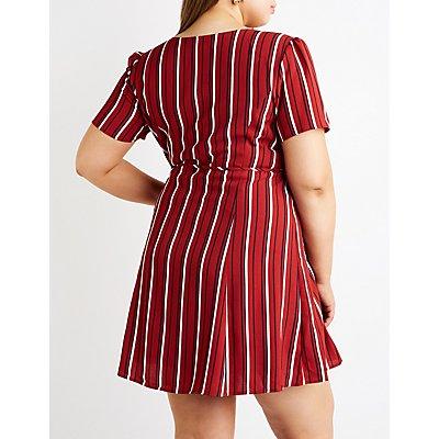 Plus Size Stripe Button Up Skater Dress