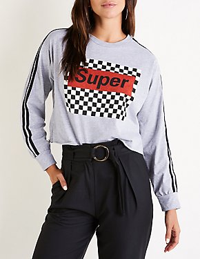 Checkered Racer Stripe Graphic Tee