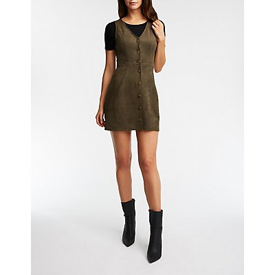 Ultra Suede Button Front Jumper