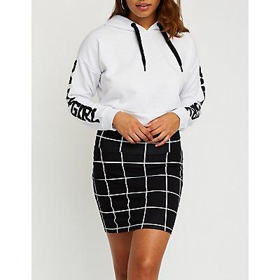 Windowpane Bodycon Mini Skirt