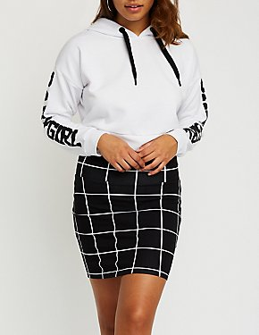 Windowpane Bodycon Mini Skirt