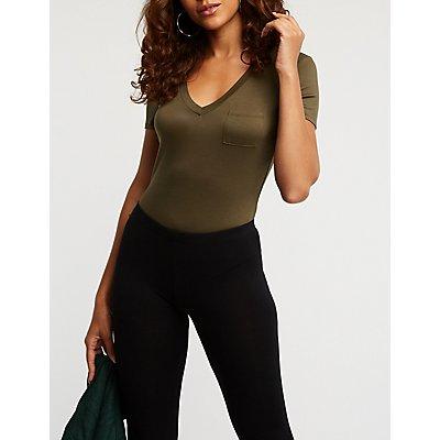 V-Neck Pocket Bodysuit
