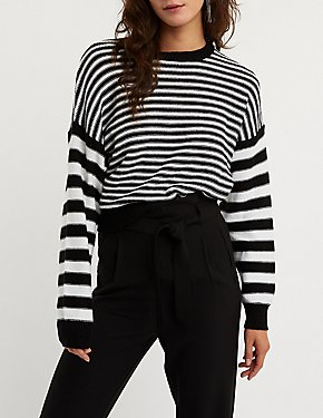 Mixed Striped Pullover Sweater