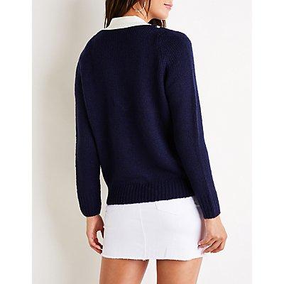 Varsity V Neck Sweater