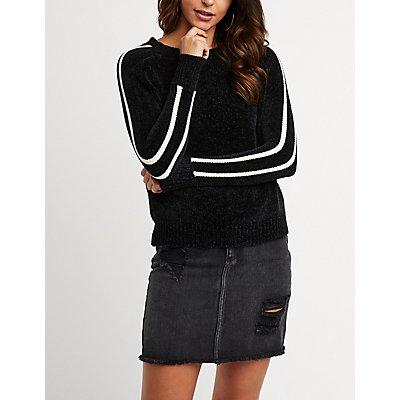 Chenille Stripe Sleeve Pullover Sweater
