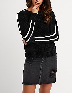Chenille Stripe Sleeve Pullover Sweater