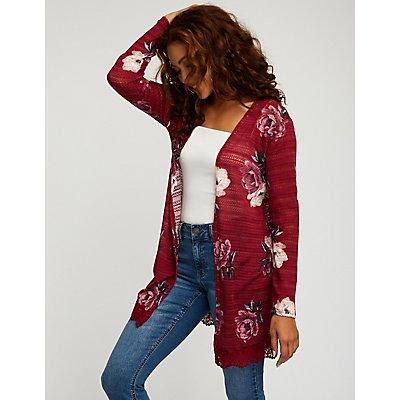 Floral Crochet Trim Cardigan