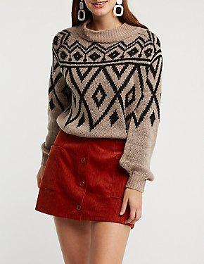 Geometric Print Pullover Sweater