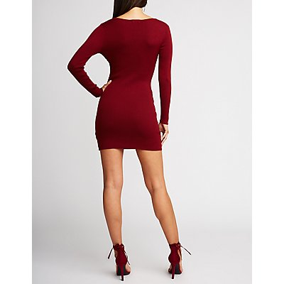 O Ring Ribbed Knit Bodycon Dress