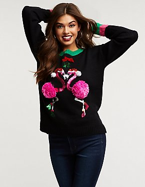 Pom Pom Flamingo Holiday Sweater
