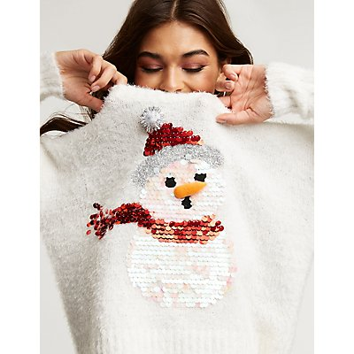 Fuzzy Sequin Snowman Sweater