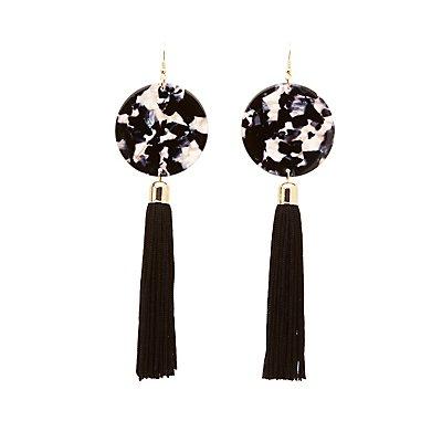 Disc Tassel Drop Earrings
