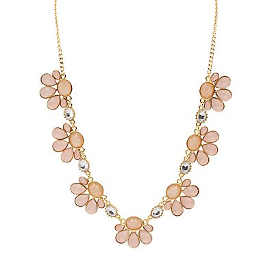 Mixed Stone Flower Petal Necklace