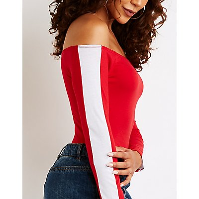 Side Stripe Off The Shoulder Bodysuit