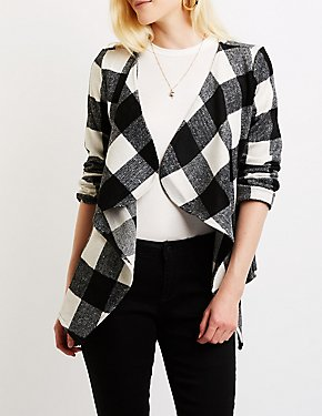 Plaid Draped Coat