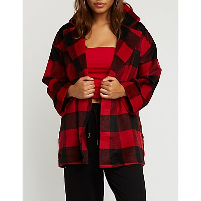 Plaid Open Front Coat