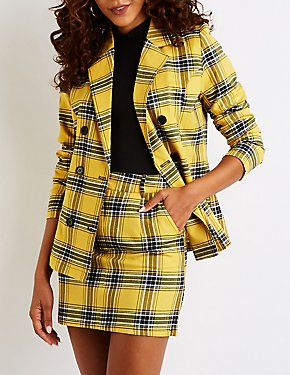 Plaid Double Breasted Boyfriend Blazer