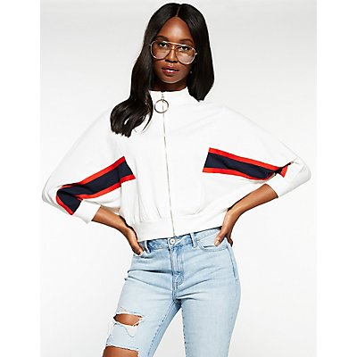 Varsity Striped Zip Up Sweatshirt