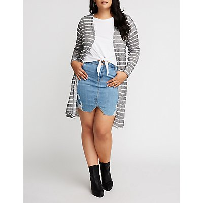 Plus Size Striped Open Front Cardigan