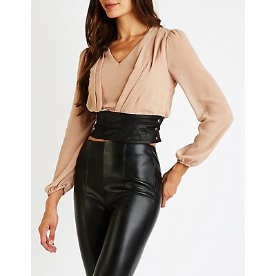 Pleated V Neck Top