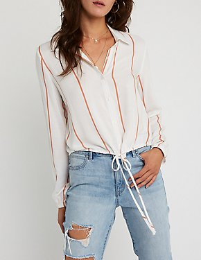 Striped Button Up Tie Top