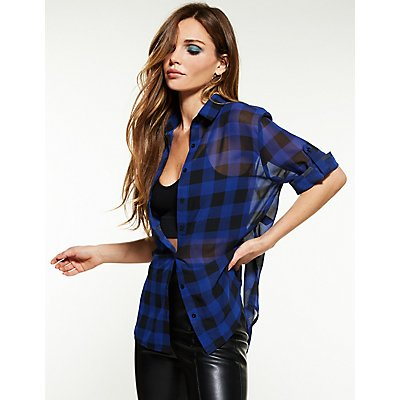 Plaid Chiffon Button Up Blouse