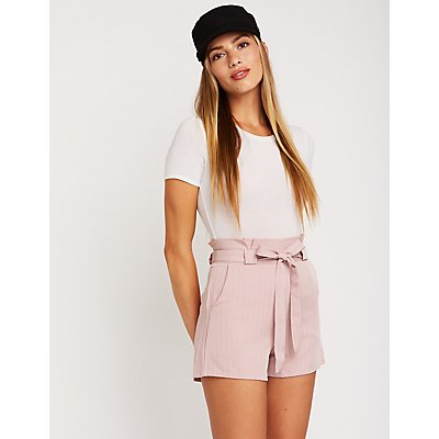 Pinstriped Paperbag Shorts