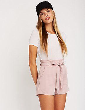 Pinstriped Paperbag Shorts