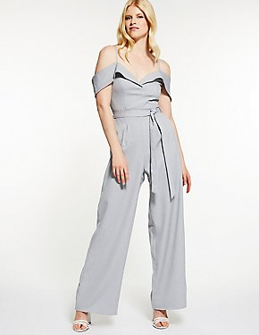 Pinstripe Cold Shoulder Jumpsuit