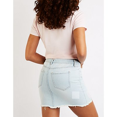 Refuge Button Up Denim Skirt