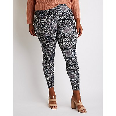 Plus Size Printed High Waist Leggings