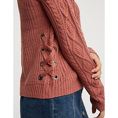 Lace Up Detail Open Front Cardigan
