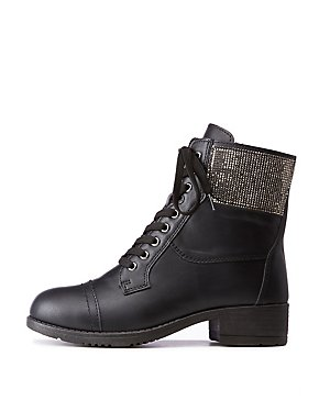 Bamboo Crystal Accented Combat Boots