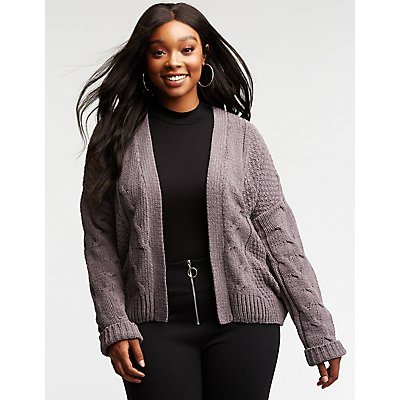 Plus Size Cable Knit Cardigan