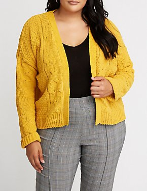 Plus Size Cable Knit Open Front Cardigan
