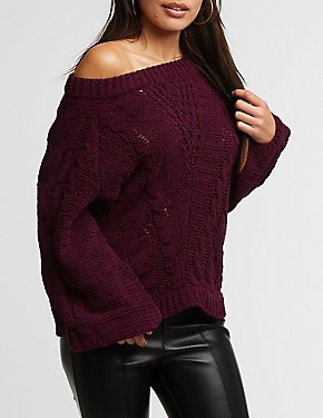 Chenille Cable Knit Pullover Sweater