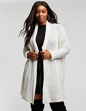 Plus Size Longline Knit Cardigan