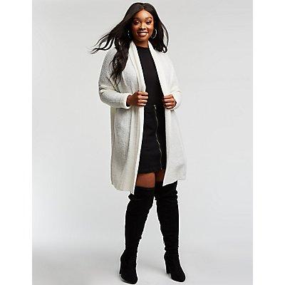 Plus Size Longline Knit Cardigan