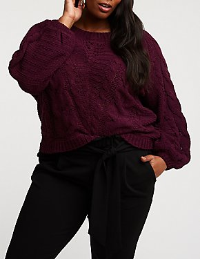 Plus Size Mixed Knit Pullover Sweater