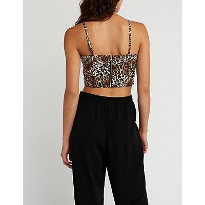 Leopard Print Bustier Crop Top